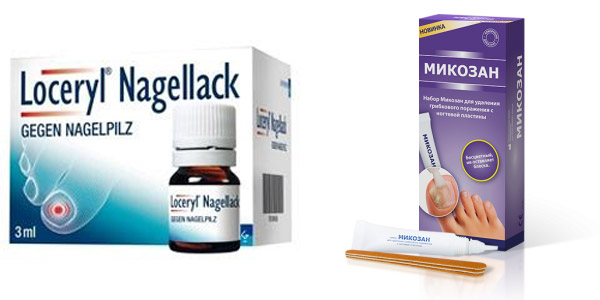 эффективное средство от грибка ногтей Лоцерил и Микозан